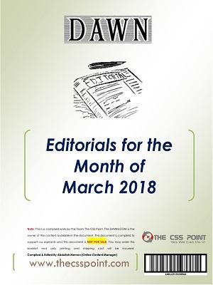 Monthly DAWN Editorials March 2018