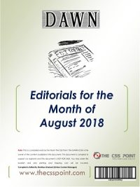 Monthly DAWN Editorials August 2018