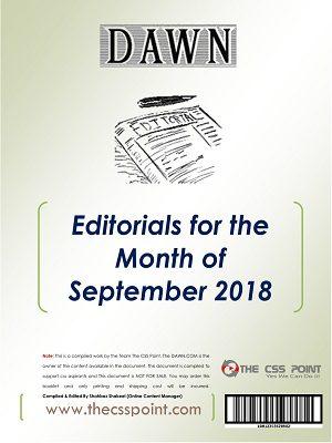 Monthly DAWN Editorials September 2018