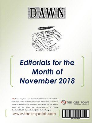Monthly DAWN Editorials November 2018