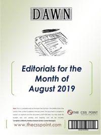 Monthly DAWN Editorials August 2019