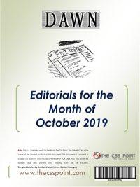 Monthly DAWN Editorials October 2019