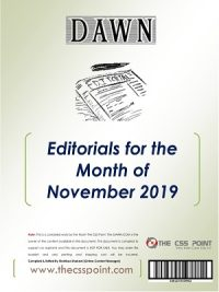 Monthly DAWN Editorials November 2019