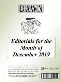 Monthly DAWN Editorials December 2019