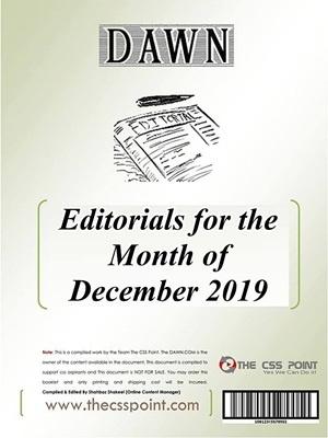 Monthly DAWN Editorials December 2019